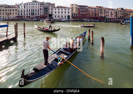 gondolas on Grand Canal in Venice - Stock Photo