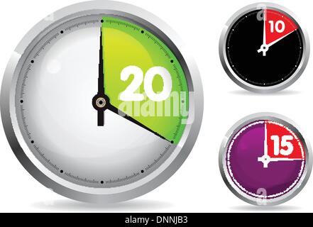 mechanical watch timer 10 minutes set of 10 and 20 minutes timer vector illustration easy ro edit stock