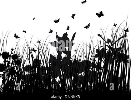 Vector grass silhouettes backgrounds with butterflies - Stock Photo
