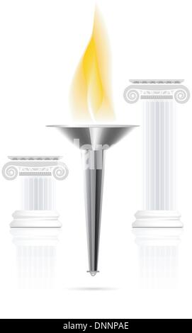 Olympic torch with flame on ionic column background. Vector illustration - Stock Photo