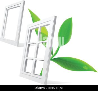 Vector window and leaf isolatde on white background - Stock Photo