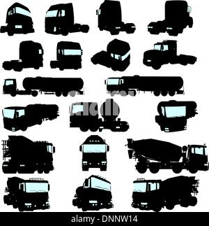 Big collection of high detail trucks silhouette. Vector illustration. - Stock Photo