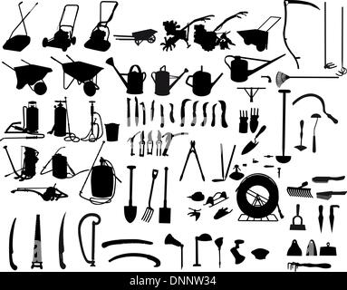 biggest collection of vector garden instruments silhouettes - Stock Photo
