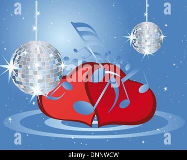 St. Valentine days musical background with hearts - Stock Photo