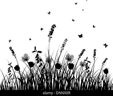 Vector grass silhouettes background. All objects are separated. - Stock Photo