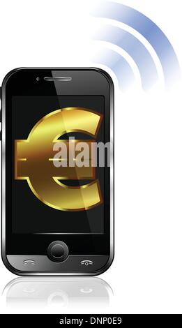 Smart Phone Mobile Phone Icon With Euro Sign And Wireless Symbol