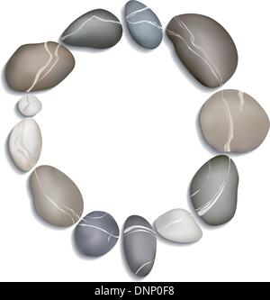 Circle of twelve pebbles on a white background with shadow