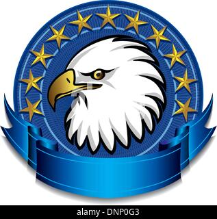 Blue Eagle with banner and gold stars - Stock Photo
