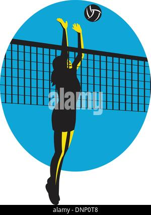 Illustration of a female volleyball player jumping spiking ball done in retro style. - Stock Photo