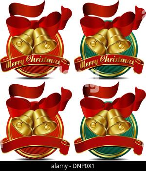 Merry Christmas Bells website banner with shadow - Stock Photo