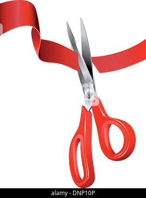 Ceremonial scissors cutting through the red tape Ribbon - Stock Photo