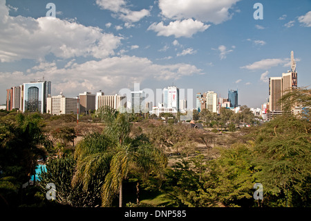 Panorama of Nairobi city skyline with high rise multi storey buildings seen from Nairobi Serena Hotel - Stock Photo