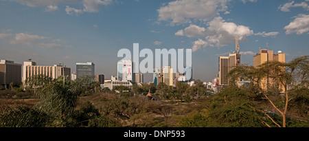 High resolution panorama of Nairobi city skyline with high rise multi storey buildings seen from Nairobi Serena - Stock Photo