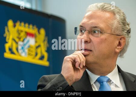 Schwandorf, Germany. 03rd Jan, 2014. Bavarian Interior Minister Joachim Herrmann (CSU) speaks at a press conference - Stock Photo