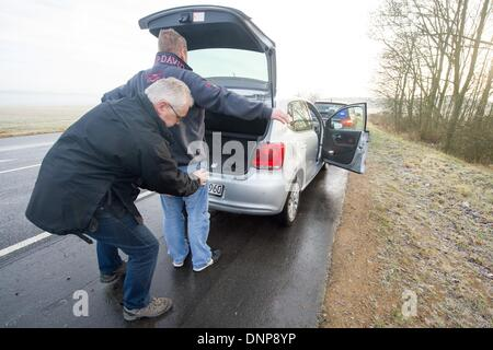 Schwandorf, Germany. 03rd Jan, 2014. An officer of the so-called Schleierfahndung, checking persons without suspicion, - Stock Photo