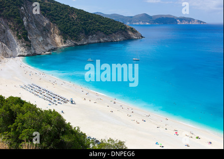 Overlooking the white Myrtos Beach, Cefalonia, Greece - Stock Photo