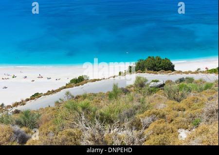 Overlooking Myrtos Beach, Kefalonia, Greece - Stock Photo