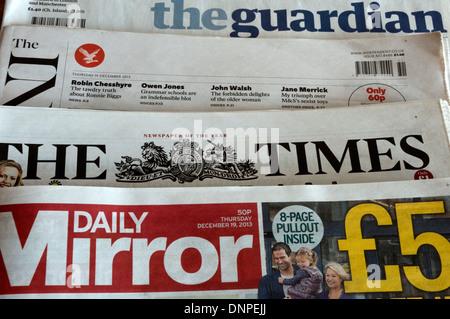 British daily newspapers - Stock Photo