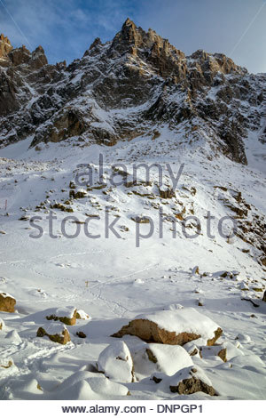 View from the Aiguille du Midi cable car in the Mont Blanc massif - Chamonix (France) - Stock Photo