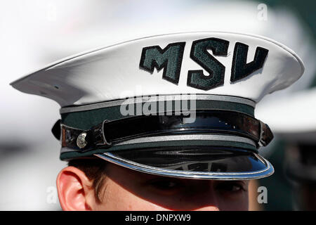 January 01, 2014: Michigan State Spartans marching band member in action during the 100th Rose Bowl presented by - Stock Photo