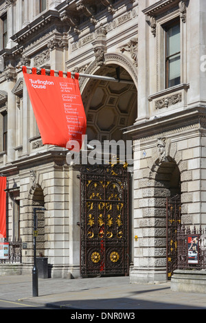 Piccadilly and the entrance to the Royal Academy of Arts at Burlington House London England UK - Stock Photo