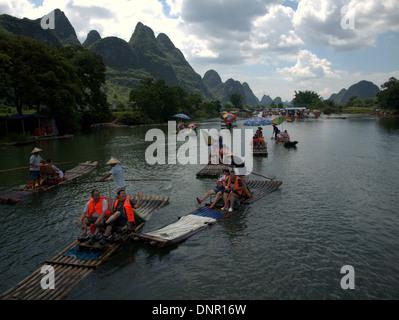 Yangshuo, Yulong River, li, bamboo, raft - Stock Photo