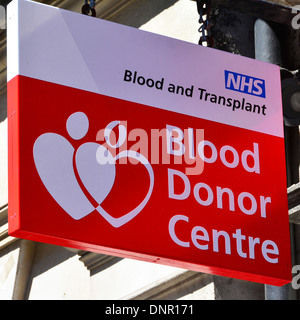 National Health Service Blood Donor and Transplant Centre sign West End London England UK - Stock Photo