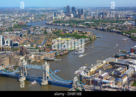 Aerial view of the River Thames from Tower Bridge towards Canary Wharf skyline from Shard building London England - Stock Photo