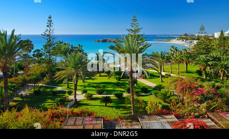 View from the Nissi Beach Hotel in Ayia Napa, Cyprus. - Stock Photo