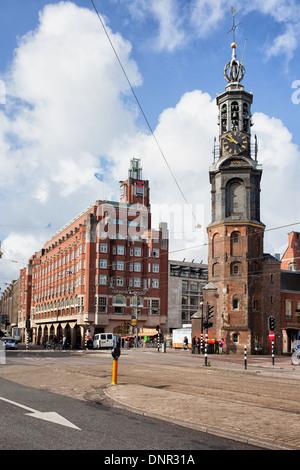 Mint Tower (Dutch: Munttoren), historic landmark in the city of Amsterdam, Netherlands. - Stock Photo