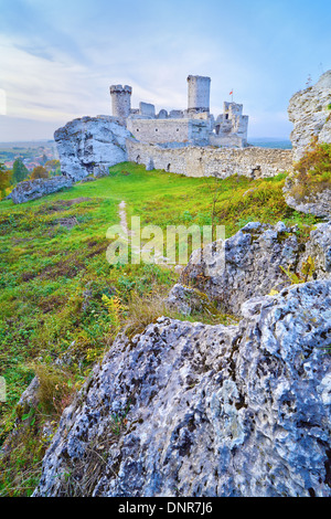 Ruins of the old medieval Ogrodzieniec Castle in Poland. Krakow-Czestochowa Upland, Trail of the Eagles' Nests at - Stock Photo