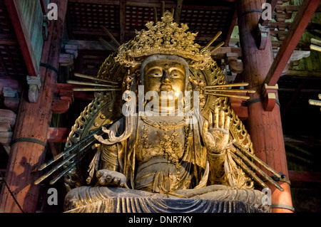 Buddha Statue in the Historic Todai-ji Temple, Nara, Japan - Stock Photo
