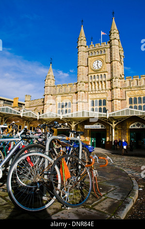 Bicycles outside of Bristol Temple Meads Train Station - Stock Photo