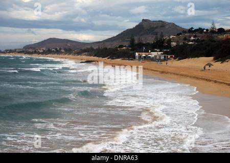 The famous beach on the Atlantic Island of Porto Santo near Madeira - Stock Photo