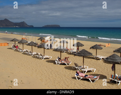 The famous beach on the Atlantic Island of Porto Santo near Madeira - Stock Photo