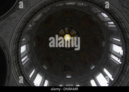 Natural light view, looking up from the nave, dome, with mosaics and windows,  Berlin Cathedral (Berliner Dom), - Stock Photo