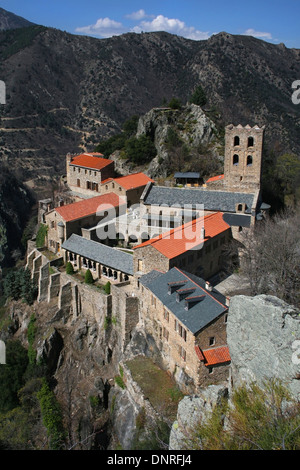 Saint Martin du Canigou abbey (Sant Marti del Canigo) in the Pyrenees, France. - Stock Photo