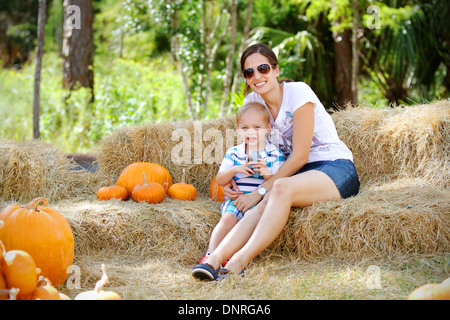Halloween in Florida, a mom and her little boy - Stock Photo