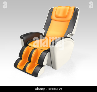 Massage chair with black and orange leather. 3D rendering with clipping path - Stock Photo