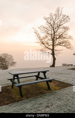 Bench in a park covered with frost - Stock Photo