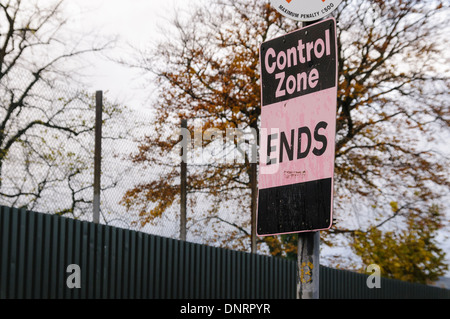 Sign indicating the end of a Control Zone, common in Belfast and towns in Northern Ireland during the Troubles - Stock Photo
