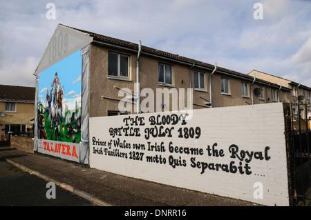 Mural in Belfast commemorating the Talavera battle in July 1809 - Stock Photo