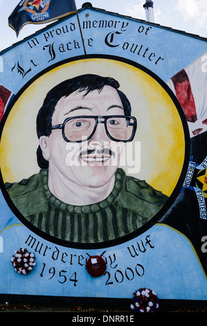 Mural in Belfast commemorating the UDA commander Jackie Coulter who was killed in 2000 during a feud between loyalists. - Stock Photo