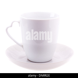 White Cup On Plate Isolated On White Background - Stock Photo
