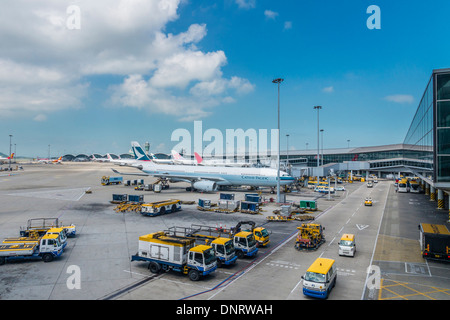 View of Parking Apron, Hong Kong International Airport, Hong Kong - Stock Photo