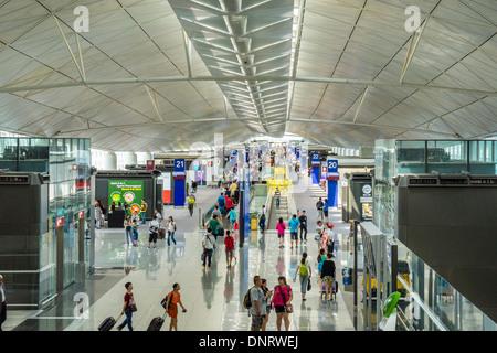 Interior of Terminal, Hong Kong International Airport, Hong Kong - Stock Photo