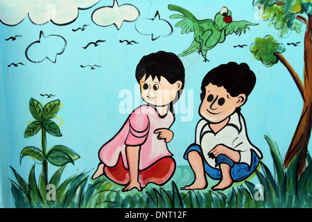 school wall paint meena cartoon in dhaka - Stock Photo
