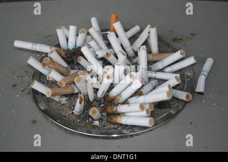 Cigarette butts outside Radisson Hotel, Los Angeles, USA - Stock Photo