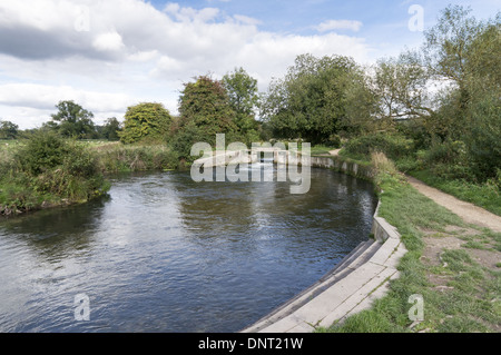 Shawford Lock on the Itchen Navigation which runs to the west of the 'proper' River Itchen in Hampshire, England, - Stock Photo