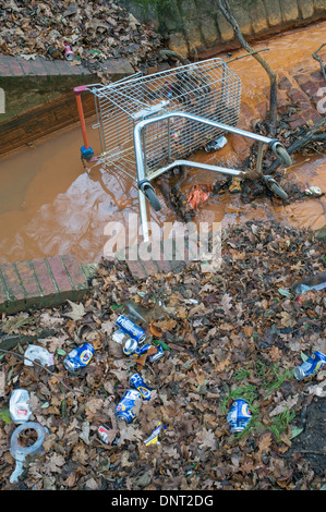 Urban detritus, abandoned shopping trolley and beer cans within a watercourse in north east England - Stock Photo
